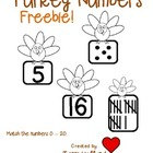 Freebie! Turkey Number Match 0-20, numbers, tallies, dots