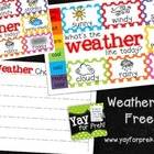 Freebie!  Weather Chart!  Toddler, PreK, Kindergarten, Fir