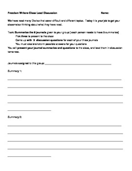 Freedom Writers Diary Worksheets