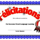 French Achievement award Congratulations in French