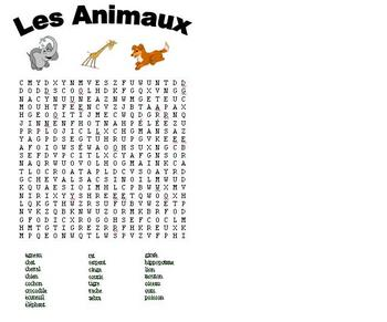 French Animal Word Search