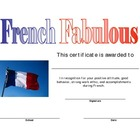 French Award Certificate