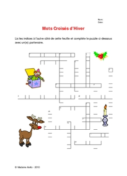 French Cross Word - Winter / Christmas