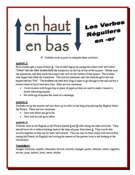 "French ""ER Verb"" Partner Activities (Speak, Read, Listen, Write)"