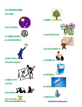 French Earth Day or Environmental Unit Vocabulary and Activities