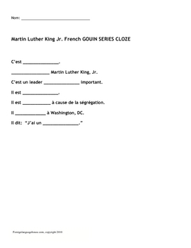 French Gouin Series for Martin Luther King Jr. Day
