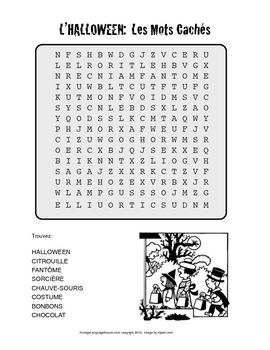 French Halloween Word Search