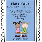 French Immersion - Place Value Worksheets for Grades 2 and 3 Math