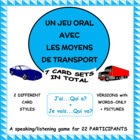 French Methods of Transport Vocabulary Game - Le cercle magique