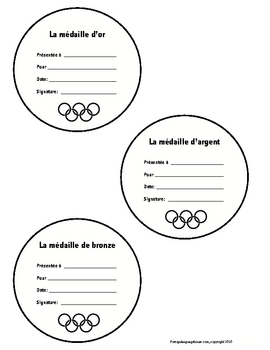 French Olympic Medal Certificates