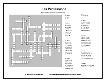French Professions Vocabulary Kriss Kross Puzzle
