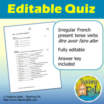 French Quiz - Irregular Verbs Etre, Aller, Avoir, Faire