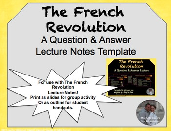 French Revolution Guided Notes for Ppt to Accompany Ppt Lecture