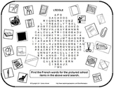 French School Vocabulary Word Find with Clipart