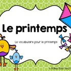French Spring Printemps File Folder Word Wall Vocabulary