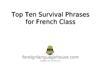 French Top Ten Classroom Survival Phrases PowerPoint