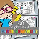 Fridge Homework Worksheets - Fun Way to Learn 100 Sight Words