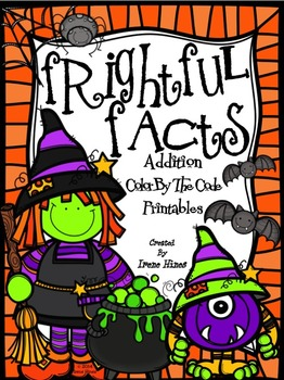 Frightful Facts: Addition Halloween Color By The Number Code Math Puzzles