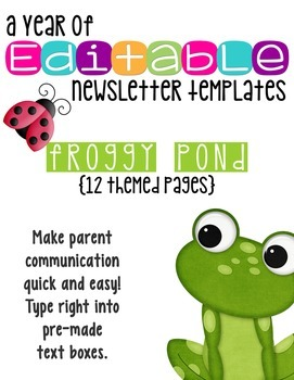 Newsletter Templates: Frog Friends