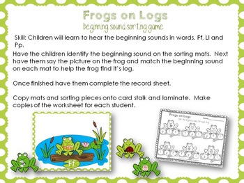 Frog in the Bog Letter Sound Sorting Cards