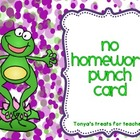 Frog theme homework punch cards