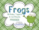 Frogs Birthday Toppers and Certificate FREEBIE