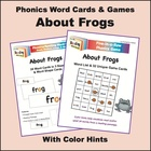 Frogs Phonics Word Cards & Games, with Color Hints on Vowels