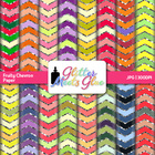 Fruity Chevron Digital Scrapbook Paper With Glitter! - Spr
