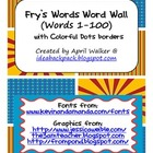 Fry&#039;s Word Wall Cards (Words 1-100)  with Blue, Yellow, an
