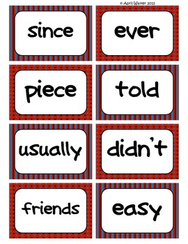 Fry's Word Wall Cards (Words 301-400)  with Red, Black, an