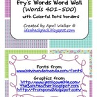 Fry's Word Wall Cards (Words 401-500)  with Purple, Blue,