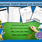 Full set of Preprimer dolch word list #1 - list #5 - 10 wo