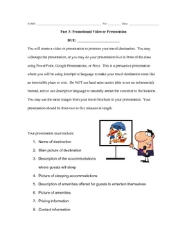 Fun Descriptive Writing Project - Letter, Brochure, Presentation