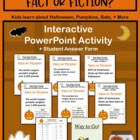 Halloween Trivia Activity Interactive PowerPoint Quiz + Worksheet