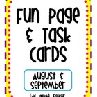 Fun Page &amp; Task Cards (August &amp; September)