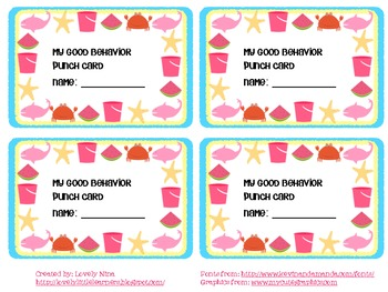 Fun in the Sun Behavior Punch Card