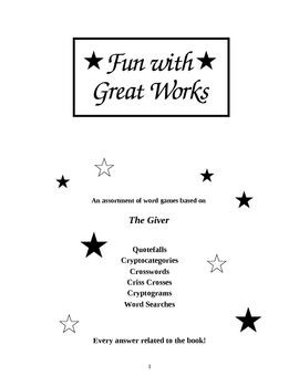 Fun with Great Works: The Giver edition--An Entire Booklet
