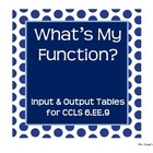 Function Tables ~ Input & Output for 6.EE.9