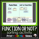 Function or Not? Introduction to Functions Sorting Activit