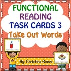 Functional Reading Task Cards: Take Out Words (Restaurant)
