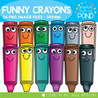Funny Crayons - Clipart for Teachers and Classrooms