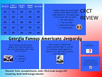 GEORGIA FAMOUS AMERICANS JEOPARDY-FUN REVIEW-