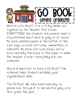 G.O. Book (Getting Organized) An organizational binder