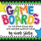 Game Boards for the Entire School Year (with Editable Game Cards)