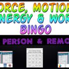 Game: Force, Motion, Energy & Work bingo