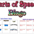 Game: Parts of Speech Bingo (25 unique cards, levels 1 & 2)