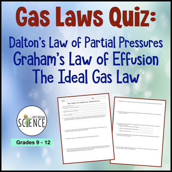 Gas Law Quiz: Dalton's Law, Graham's Law, Ideal Gas Law