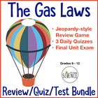 Gas Laws Quiz Bundle of 5 Products: Quizzes, Unit Test, Je