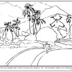 Gauguin. Tahitian Landscape...  Coloring page and lesson p