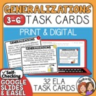Generalizations Task Cards: 32 cards for identifying gener